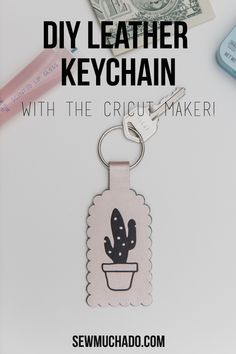 DIY Leather Keychain Tutorial with the Cricut Maker! Learn how to cut leather with the Cricut Maker and make an adorable cactus keychain! Such a great DIY gift idea!#sewmuchado #cricut #cricutmaker #leather #diyleather #diygift #diykeychain Cactus Keychain, Diy Keychain, Diy Leather Keychain, Keychains, Keychain Ideas, Inkscape Tutorials, Cricut Tutorials, Sewing Tutorials, Packaging