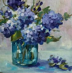 """Daily Paintworks - """"Say I Love You"""" - Original Fine Art for Sale - © Libby Anderson Hydrangea Painting, Acrylic Painting Flowers, Watercolor Flowers, Watercolor Paintings, Paintings I Love, Art Paintings, Arte Floral, Art Oil, Flower Art"""