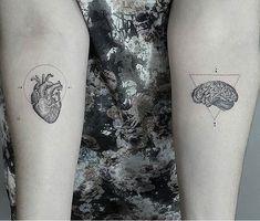 Brain and heart tattoo – Tattoos Mini Tattoos, Trendy Tattoos, Body Art Tattoos, Small Tattoos, New Tattoos, Tatoos, Strong Tattoos, Couple Tattoos, Tattoos For Guys
