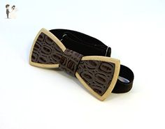 "Wooden Bow Tie Wood Bow Ties Mens Bow Ties Groomsmen Gifts Bowties ""Black python leather"" - Groom fashion accessories (*Amazon Partner-Link)"