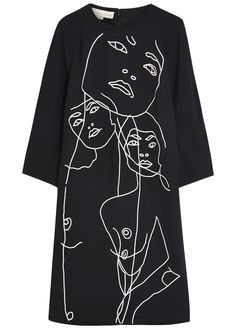 Stella McCartney black crepe dress Embroidered faces, raglan sleeves, two side slit pockets, partially lined �� Concealed zip fastening through back 59% rayon, 41% acetate; lining: 100% silk