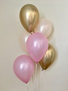 Chrome Gold Pearl Peach Pearl Pink Latex Balloon~Birthday~Wedding~Bridal Shower~Chrome Gold & Pink~Pink and Gold First Birthday~Bachelorette