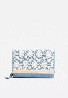 Denim Crochet Metal Bar Small Purse