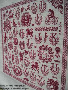 Red cross stitch Sajou Sampler from Clorami Designs.  www.clorami-designs.be
