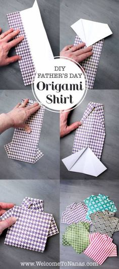 Two Ways to Make an Origami Shirt Father's Day Card – Scrap Booking DIY Paper Lanterns Paper lantern Diy Father's Day Origami, Origami Shirt, Origami Cards, Origami Birthday Card, Origami Ideas, Origami Boxes, Dollar Origami, Origami Ball, Origami Folding