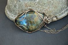 blue green eneormous labradorite pendant wrapped by CopperFinger