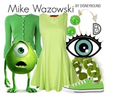"""Mike Wazowski"" by leslieakay ❤ liked on Polyvore featuring P.A.R.O.S.H., BCBGMAXAZRIA, Color My Life, Converse, disney, disneybound and disneycharacter"