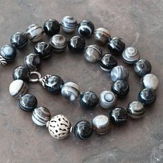 Natural Black Striped Agate Gemstone and Sterling Silver Statement Necklace, Black and White Hand-Knotted Necklace, Striped Agate Jewelry