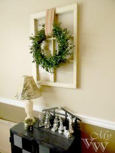 Bowwood wreath and antique window