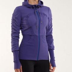 Lululemon Dance Studio Reversible Hooded Jacket Lululemon Dance Studio reversible hooded jacket. Purple. Size L. Lulon light and Lycra. Really light and comfortable.                                  Tiny hole /loose thread.... See picture. I would be happy to sew before shipping (LMK) also missing hood lace. I would be happy to thread a similar one before shipping (LMK) price reflects both issues.                                               No Trades. Please make offer through offer…