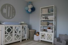 Baby Blue + Gray Nursery = love the preppy look for a baby boy!