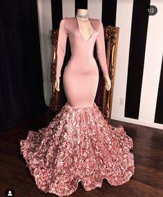 Pink Long Sleeves Flowers Mermaid Prom Gowns, 2019 Elegant V-Neck Evening Dress,Prom Dress Black Girl Prom Dresses, Cute Prom Dresses, Prom Outfits, Plus Size Prom Dresses, Elegant Dresses, Homecoming Dresses, Sexy Dresses, Girls Dresses, Wedding Dresses