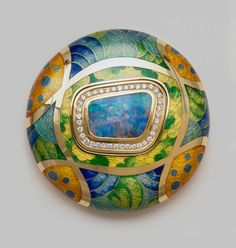 De Vroomen, hand engraved gold brooch with vitreous enamel and cloisonne wiring. beautiful opal and diamonds set into the center.