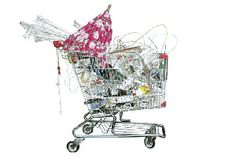 Taizo Yamamoto's Shopping Cart Illustrations – view more (realistic) images @ http://www.juxtapoz.com/Illustration/taizo-yamamotos-shopping-cart-illustrations – #illustrations #shoppingcart #umbrella