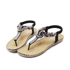 36bdcfe714130 ... Women Sandals 2017 New Diamond Rhinestone Summer Sandals Fashion Flat  Shoes Large Size Beach Casual Shoes. See more. Bohemian Bead Floral Elastic  Clip ...