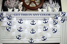 Sailboat and anchor garland, nautical banner garland decor, nautical birthday, white sailboats navy anchors baby shower decor