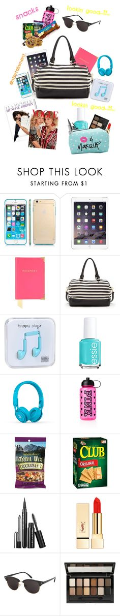 """""""whats in my carry on!"""" by cupcakegirlxo ❤ liked on Polyvore featuring beauty, SGM, Aspinal of London, Sole Society, Happy Plugs, Essie, Beats by Dr. Dre, Victoria's Secret PINK, PUR and Topshop"""