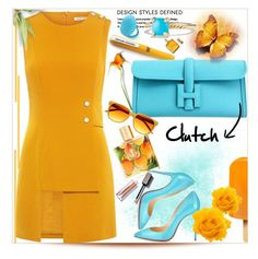 """""""In a rush? Grab a clutch."""" by thedistinctiveme ❤ liked on Polyvore featuring Hermès, Christian Louboutin, David Yurman, Malie Organics, Finders Keepers and Clutch"""