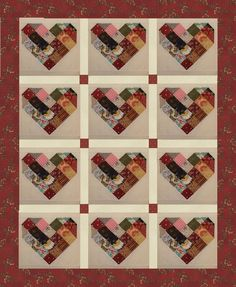Kentucky Patchwork Heart Custom made quilt block set  NOTE!!!!...FOR DISPLAY PURPOSES 1 BLOCK HAS BEEN USED COPIED AND PASTED 12 TIMES, WITH SASHING AND BORDER ADDED..THIS HAS BEEN DONE TO GIVE YOU AN IDEA OF HOW THESE BLOCKS CAN LOOK..THIS LISTING IS FOR QUILT BLOCKS ONLY  This is a Heinz 57 scrappy block Which means,All fabrics are considered, I use only small fabric designs, I do not include solids with the exception of the background fabric...no childrens fabrics, or holiday fabrics are…
