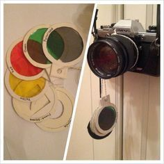 Diy camera filters. Trace your lens (or an existing filter) onto thin cardboard. For every filter you want to make cut 2 cardboard circles. Cut the same size holes in the middle of the circles so you have 2 rings of cardboard and place the filter you want in between.(I used cellophane for the yellow, red and green filters and an old 3d glasses lens for the polarized filter.) Glue the 2 rings together and voila!! Attach them to your camera and you're done. You can fasten them to your lens…