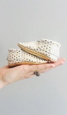 gold polka dot fringe moccasins for baby