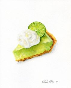 Key Lime Pie 3 ORIGINAL Painting Food by ForestArtStudio on Etsy Fake Food, Food N, Food And Drink, Key Lime Pie, Savoury Slice, Lime Desserts, Dessert Illustration, Sweet Drawings, Keylime Pie Recipe