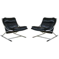 Pair of Paul Tuttle Zeta Lounge Chairs - Black Leather