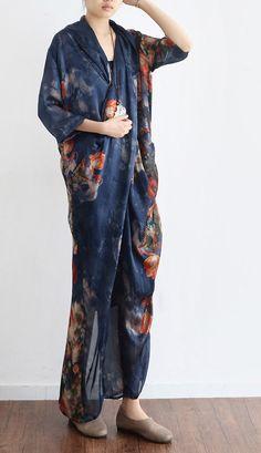 new blue print stylish casual chiffon dresses  plus size vintage unique maxi dress