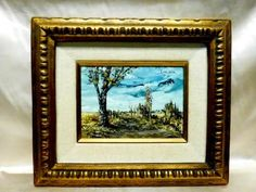 This appears to be the same artist S Gruber AND the same type of framing. The frame sticker on the back is the same with different numbers & description. This is a Vintage Oil Painting on Wood Panel that depicts an Impression of Landscape. This painting is signed by Arti... Item was passed Oil Paint On Wood, Painting On Wood, Vintage Art Prints, Frame It, Wood Paneling, American Artists, Wooden Frames, Auction, Landscape