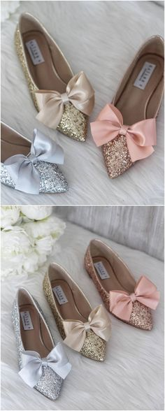 a7e64c150115 SILVER ROCK Glitter pointy toe flats with FRONT Satin Bow - Women Wedding  Shoes