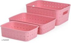 Measuring Cups New Multipurpose Smart Basket Set of 3 Pink Storage Basket(Pack of 3) Material: Plastic Pack: Pack of 1 Country of Origin: India Sizes Available: Free Size   Catalog Rating: ★4 (486)  Catalog Name: Fancy Spoons CatalogID_1178249 C135-SC1658 Code: 502-7349365-693