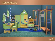 The Sims Resource: Aquarelle Set by Soloriya • Sims 4 Downloads
