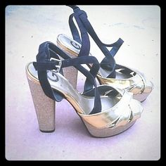 G by Guess gold and black heels Worn once for new years. They are gold, gold sparkle and black velvet. G by Guess Shoes Heels