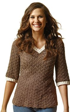 Crochet V-Neck Sweater Pattern. Includes link to free pattern.