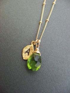 Peridot necklace Bridesmaid jewelry birthday gift by Muse411