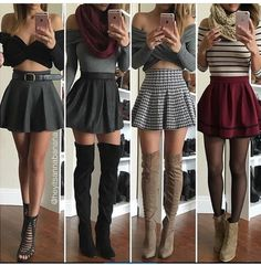 Outfit Trends Today For You ! Cute Skirt Outfits, Cute Skirts, Girly Outfits, Cute Casual Outfits, Summer Outfits, Red Skirts, Plaid Outfits, Outfits With Skater Skirts, Skater Skirt Outfit For Summer