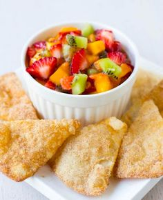 Make a Fruit Salsa with Cinnamon Chips as dessert on Cinco de Mayo with this easy recipe.