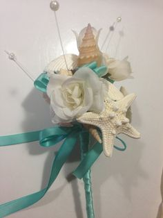Beach Wedding Seashell Wand Flowergirl Bouquet Bride Bridesmaids Beach Sea Shell on Etsy, $30.00