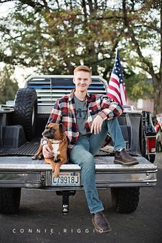 Senior Guy Pictures Plaid shirt, the American flag, a truck and a dog, perfect props for a senior guy session. Truck Senior Pictures, Hunting Senior Pictures, Softball Senior Pictures, Unique Senior Pictures, Country Senior Pictures, Guy Pictures, Senior Photos, Cheer Pictures, Boy Senior Portraits