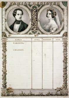 Vintage Family Record...this would make a striking printable for a genealogical page.