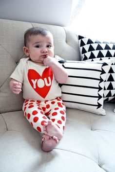 Love You organic cotton Valentine's baby bodysuit by EarthCadets