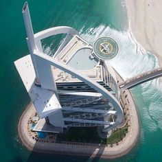 Helicopter view coming in to land - Burj Al Arab