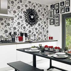 AuBergewohnlich Schwarz Weiße Tapete In Der Küche Tapeten, Kreativ, Weiße Tapete, Neue Küche