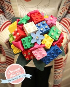 Customize Lego Bricks Bridal Bouquet with Cyrstals & Pearls Boutonniere Wedding Colorful