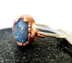 Solid Opal Ring Opal Ring Opal Ring with Silver & copper