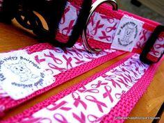 Hot pink Breast Cancer awareness ribbon nylon pet leash & adjustable collar set. via Etsy