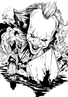 Pennywise by SnakebitArtStudio on DeviantArt Cool Car Drawings, Scary Drawings, Es Pennywise, Pennywise The Dancing Clown, Scary Coloring Pages, Coloring Books, Horror Drawing, Horror Artwork, Horror Movie Characters