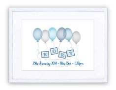 Up, Up & Away Blues Personalised Prints, New Beginnings, Blues, Framed Prints, In This Moment