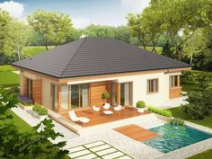 Projekt domu Eris (wersja C) multi-comfort - koszt budowy 227 tys. Modern Bungalow House, Bungalow House Plans, Bedroom House Plans, House Floor Plans, Beautiful House Plans, Simple House Plans, Small House Design, Modern House Design, One Storey House