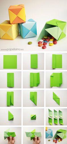 Caja de papel origami tipo PUZZLE paso a paso   http://papelisimo.es/caja-de-papel-origami-tipo-puzzle-paso-paso/